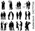 romantic couples set - stock vector