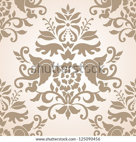 Romantic Damask Seamless Pattern - stock vector