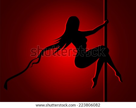 Romantic dancing girl in red light - stock vector