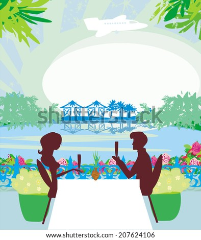 romantic date on a tropical beach  - stock vector