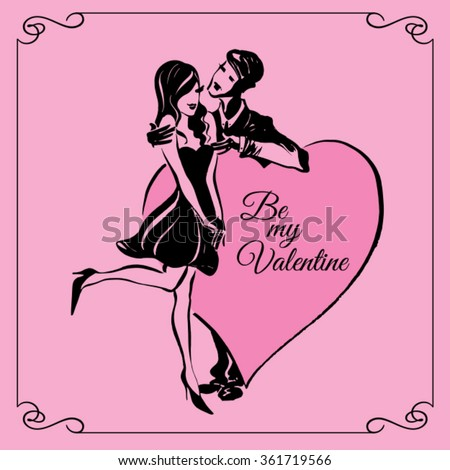 Romantic date. Valentines day. Sketch drawing vector. Valentines day. Can be used for banners, cards, covers, etc. - stock vector