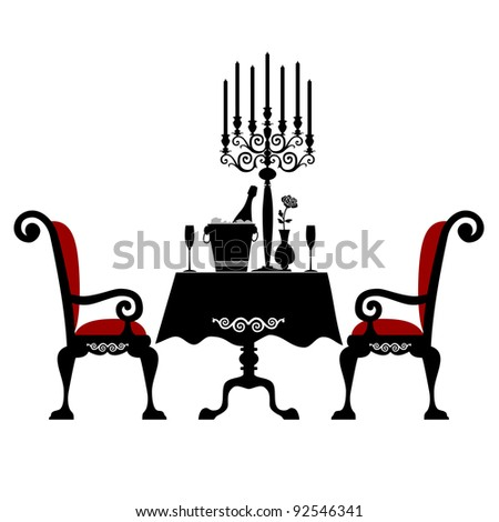 Romantic dinner for two with table and two chairs, candle and champagne, vector illustration isolated on white background