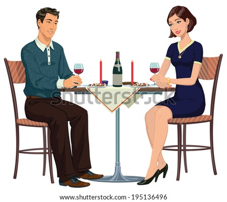 romantic dinner in a cafe for two - stock vector