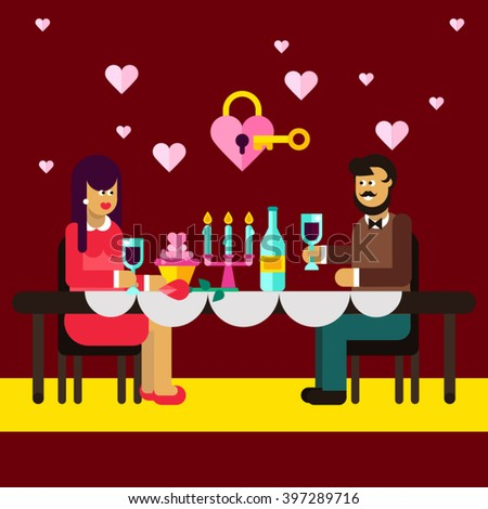 Romantic dinner of  lovely couple. Romantic relationship. Falling in love. Romantic stuff: wedding rings, key from heart, cute pictures. Valentine's day, dating