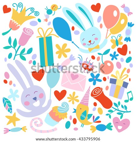 Romantic elements for wedding invitations, Valentine's day greetings pattern.
