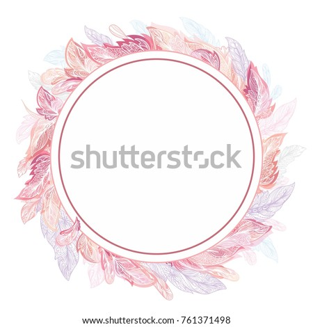Romantic feather vector frame circle detailed stock vector 761371498 romantic feather vector frame circle detailed ornamental boho chic elegant card invitation template in pink and stopboris Image collections