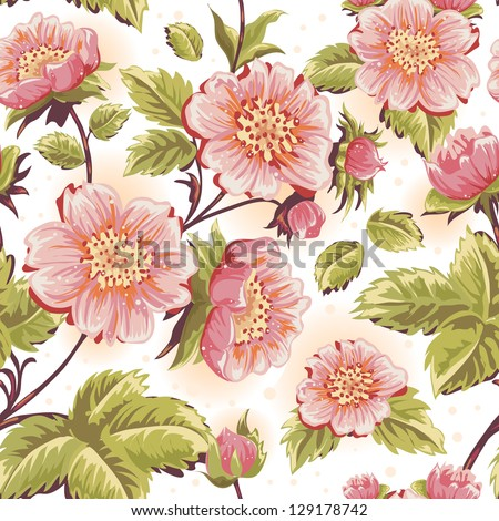Romantic feminine seamless texture with beautiful flowers, stems and leaves - stock vector