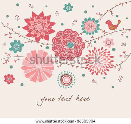 Romantic Floral Background with Bird. Valentine's Day Design. - stock vector