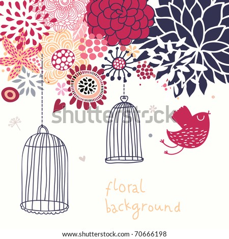 Romantic floral background with cartoon bird - stock vector