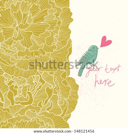 Romantic floral background with peonies and bird. Wedding elegance design. Vector seamless border with place for text. - stock vector