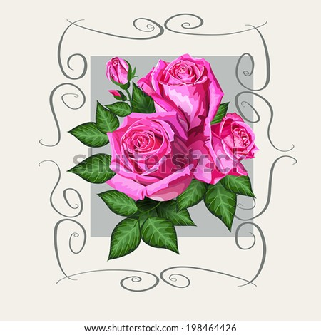 Romantic floral background with pink roses flowers and vintage frame. Vector eps10 gift card illustration for wedding invitation, birthday, valentine day or other life events - stock vector