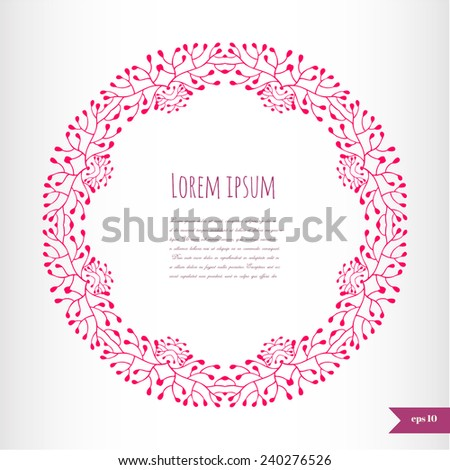 Romantic floral background with place for your text.Ornamental round lace pattern.Delicate circle background. - stock vector