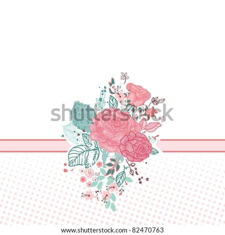 romantic floral card - stock vector