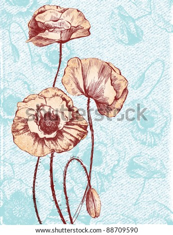 Romantic floral card with vintage poppies - stock vector