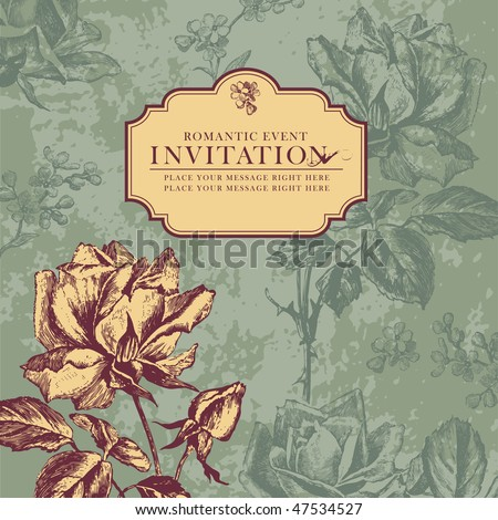 romantic floral card with vintage roses - stock vector