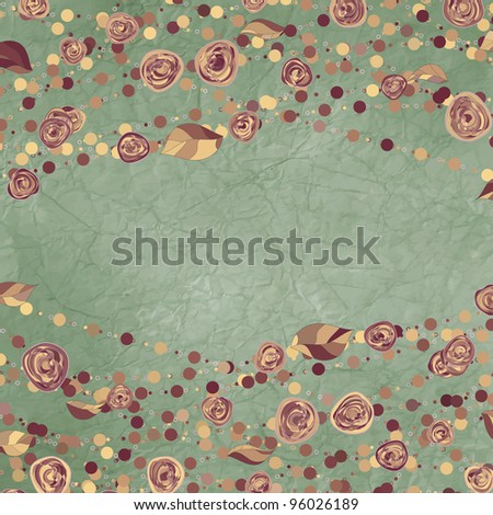 Romantic floral card with vintage roses. And also includes EPS 8 vector - stock vector
