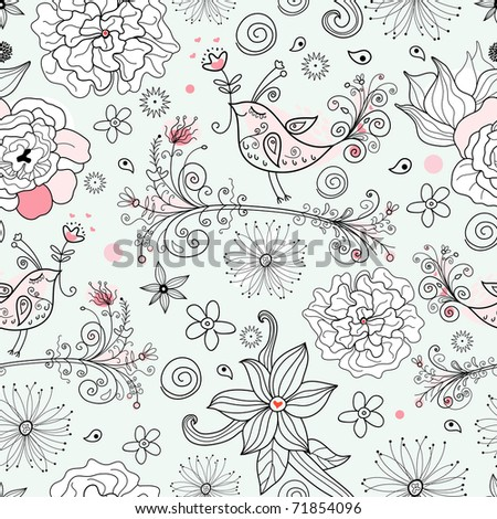 romantic floral pattern in love with the beautiful birds - stock vector