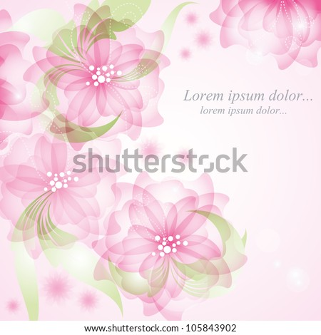 Romantic Flower Background In vintage style. Wedding card or invitation with abstract floral background. Illustration in vintage style Valentine. - stock vector