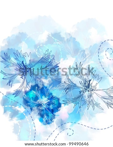 Romantic Flower Background with cornflower, vector