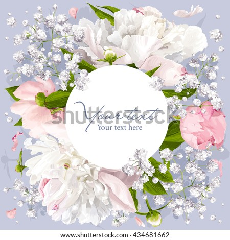 Romantic flower invitation or greeting card for weddings, Valentine's Day and other events with Peonies, leaves, Gypsophila and round white label. - stock vector