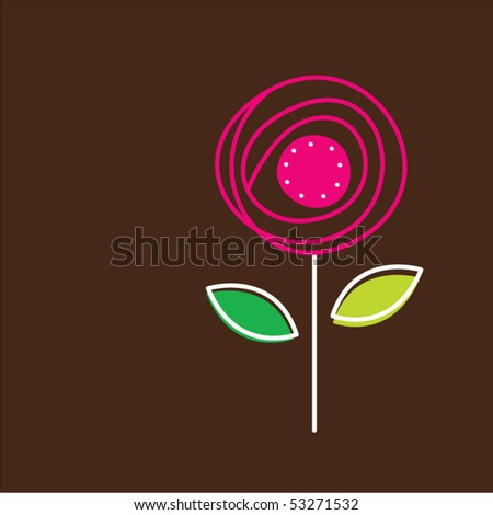 romantic flower tag - stock vector
