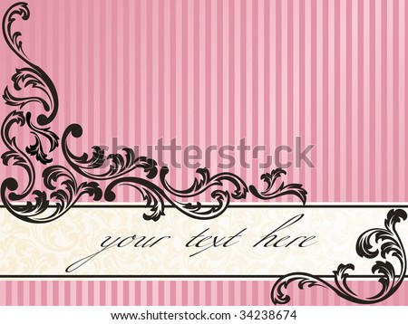 Romantic French retro banner in pink (vector); a JPG version is also available - stock vector