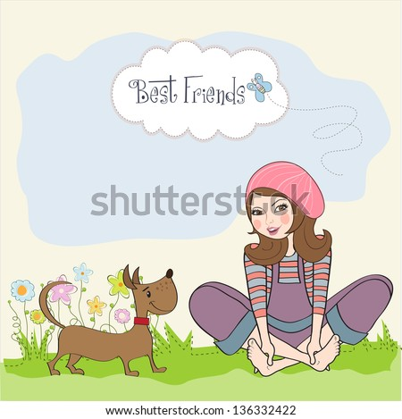 romantic girl sitting barefoot in the grass with her cute dog, vector illustration - stock vector