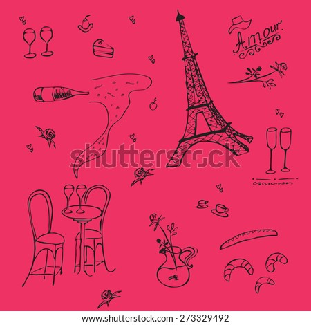 Romantic graphic background in Paris style.  Vector sketch illustration with Eiffel Tower and wine, roses. Love  atmosphere. Doodle hand drawing. Set collection of Paris symbols. - stock vector