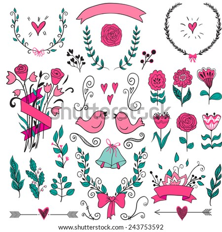 Romantic graphic set, arrows, hearts, birds, bells, rings, laurel, wreaths, ribbons and bows. Collection of vector design elements. Decorative set of holiday objects and signs. - stock vector