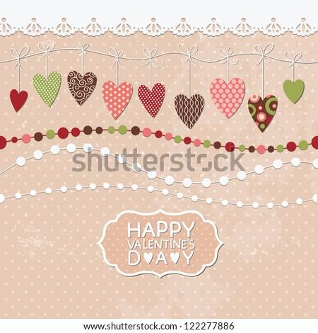 Romantic greeting card, valentine's card - stock vector