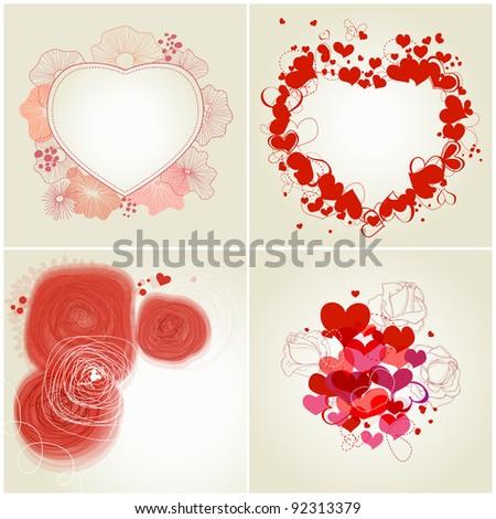 Romantic greeting cards set - stock vector