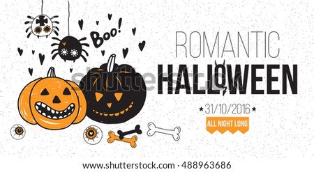 Romantic Halloween party poster, flyer, web banner design with typography. Funny vintage concept with hand drawn illustration.