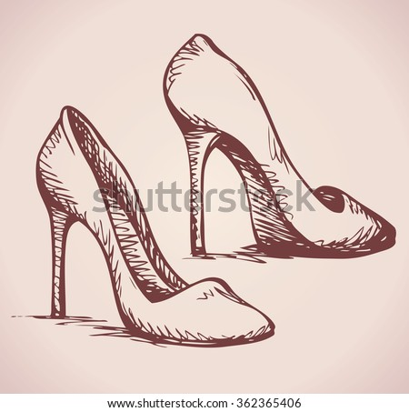 Romantic icon of two classic women's footgear item isolated on white background. Freehand ink hand drawn picture sign sketchy in art doodle style pen on paper. Closeup side view with space for text - stock vector