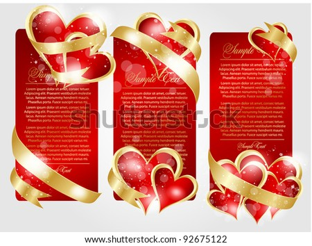 romantic illustration for design with hearts - stock vector