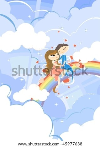 Romantic illustration of a couple on a seventh heaven, sitting on a rainbow