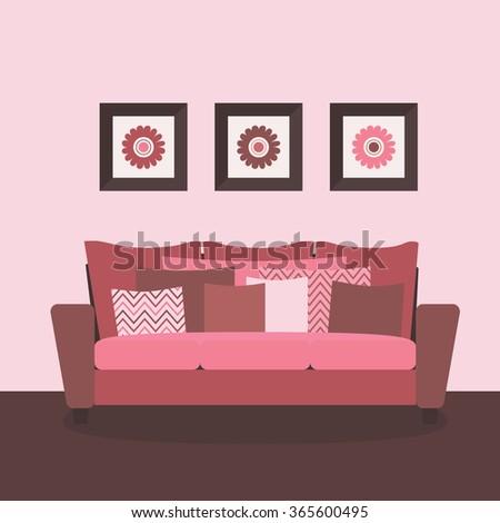 Romantic Interior Design Living Room Comfortable Stock Vector HD ...