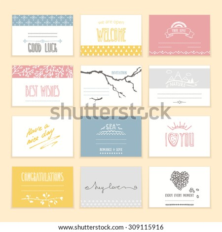 Romantic invitation and greeting cards with cute hand drawn elements and hand written lettering. Valentine's day, wedding, engagement, anniversary, birthday and other events. Isolated vector set. - stock vector