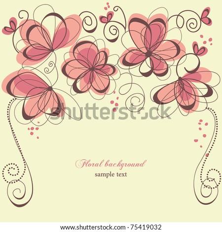 Romantic invitation floral panel - stock vector