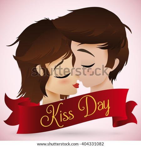 Romantic kiss between young boy and girl behind a greeting ribbon with Kiss Day text.