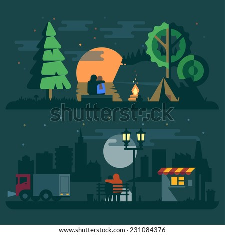 Romantic landscape with a couple in love. Forest, river, sunset, fire, tent and city, truck, lantern. Vector flat illustrations - stock vector