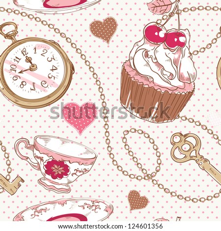 Romantic love vintage pattern with hearts, cupcake, cup of tea, clock, key and chains on a polka dot background - stock vector