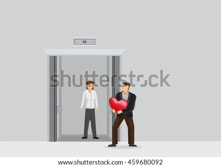 Romantic man surprises girlfriend with heart shape gift at elevator lobby. Vector illustration on love and relationship concept isolated on plain background. - stock vector