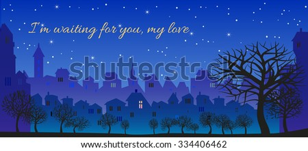 Romantic message, I'm waiting for you, my love. Original Postcard - stock vector