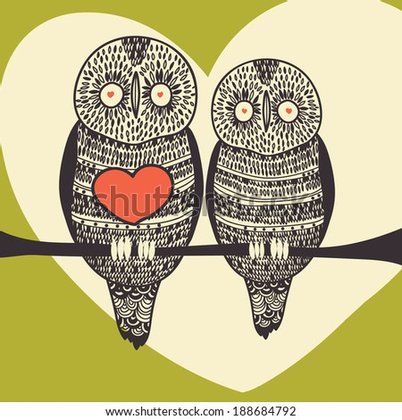 romantic owl couple on green - stock vector