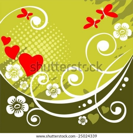 Romantic pattern with hearts and flowers  on a green background.