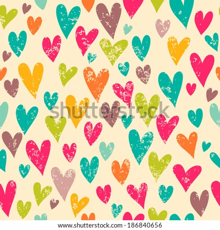 Romantic pattern with hearts. Bright background in vintage style for your design. - stock vector