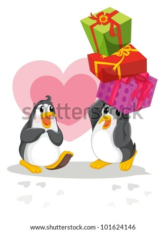 Romantic penguin giving gifts - stock vector