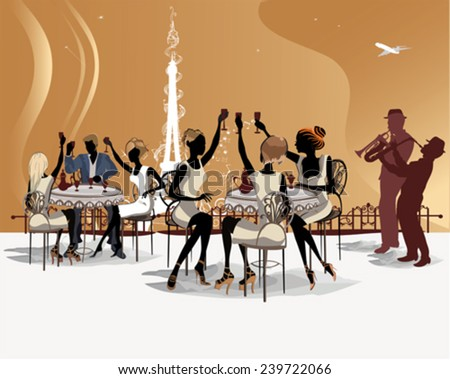 Romantic people drink coffee in the Paris cafe with a view of the Eiffel Tower - stock vector