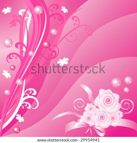 Romantic pink floral design with roses - stock vector