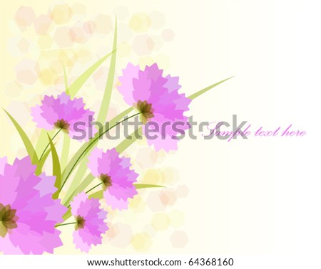 Romantic pink flower on shine background - stock vector